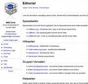 Editorial enthält Links zu den Gruppen/Rollenmasken: Admin, Editor oder Visitor