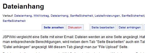 Dateianhang bei JSPWiki - Link neben Seite Editieren
