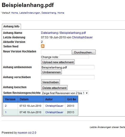 Anhangsverwaltung in JSPWiki mit Ergänzungen des cciServers um Umbenennen/Verschieben