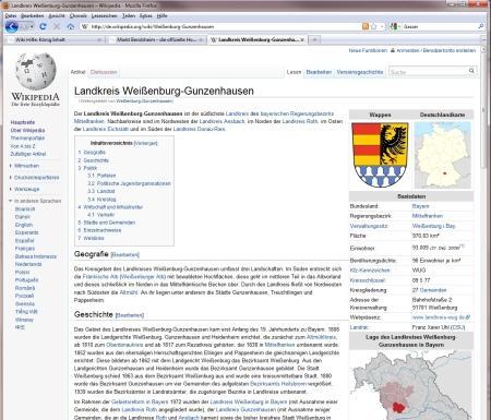 Wikipedias inzwischen 2. Redisign nach 2005 im Jahr 2010